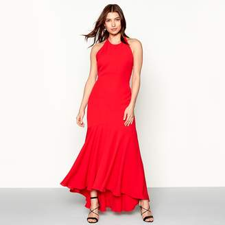 Debut Red 'Kylie' High Neck High Low Prom Dress
