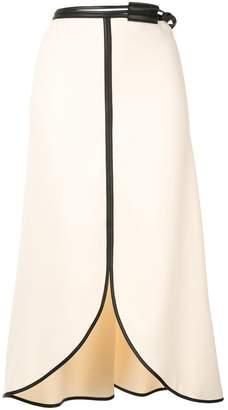 Victoria Beckham midi skirt with leather trim