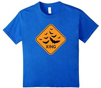 Halloween T-shirt - Funny Bat Crossing Sign Costume Tee