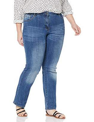 5087cd47895856 Ulla Popken womens Jeans, 5 Pocket, MANDY Straight Leg Bootcut Jeans,W46/