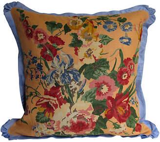 One Kings Lane Vintage English Printed Linen Floral Pillow