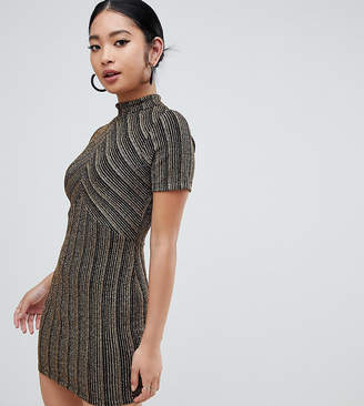 Asos DESIGN Petite cut about gold stripe mini dress