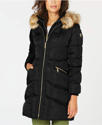 Vince Camuto Faux-Fur-Trim Hooded Puffer Coat