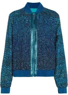 Elie Tahari Brandy Embellished Tinsel Bomber Jacket