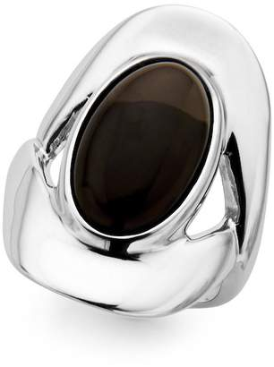 Nambe Sterling Silver Bezel Set Smoky Quartz Oval Ring - Size 7