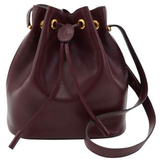 Cartier Vintage Seau Burgundy Leather Handbag