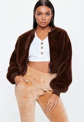 Missguided Brown Super Crop Bomber Jacket