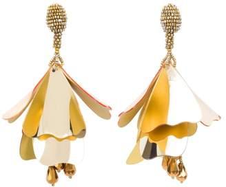 Oscar de la Renta Gold Large Impatiens Flower Drop Earrings
