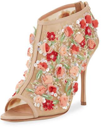 Manolo Blahnik Clizia Mesh Floral Peep-Toe Booties, Nude