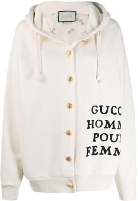 Gucci slogan hooded cardigan