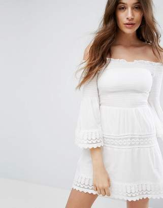 Bershka Shirring And Crochet Dress $45 thestylecure.com