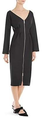 Sara Battaglia Women's Long-Sleeve Zip-Front Sheath Dress