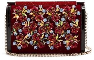 Christian Louboutin Vanite Flower Embroidered Velvet Clutch - Womens - Black Multi