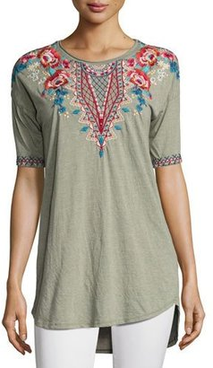 JWLA For Johnny Was Mina Dropped-Shoulder Embroidered Tee, Plus Size $135 thestylecure.com