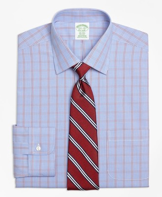 Brooks Brothers Milano Slim-Fit Dress Shirt, Non-Iron Framed Houndstooth