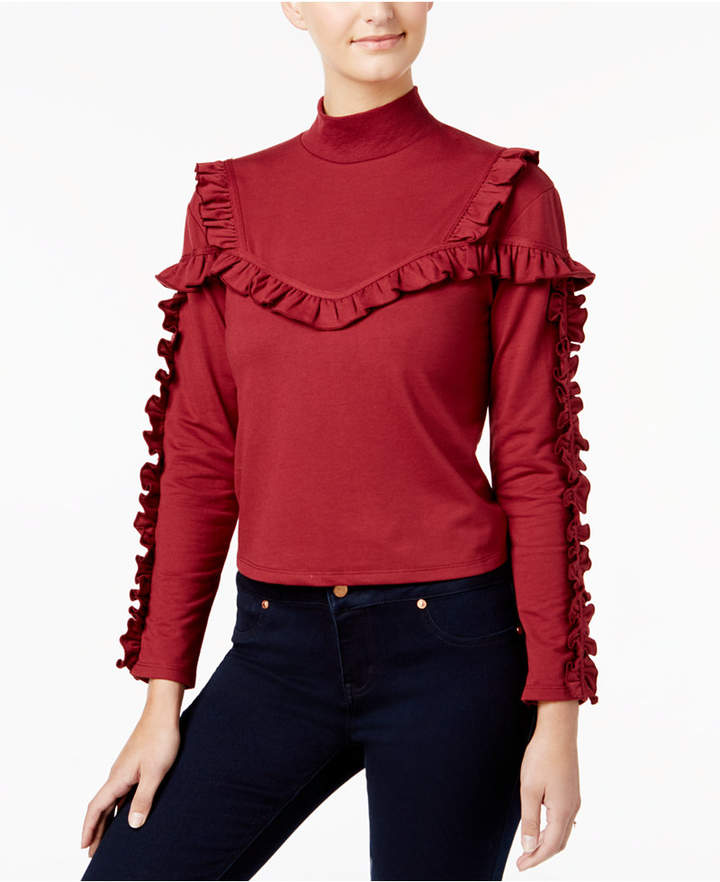 Buffalo David Bitton Ripley Ruffled Mock-Neck Top