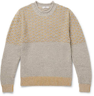 Inis Meáin Two-Tone Textured Baby Alpaca And Silk-Blend Sweater