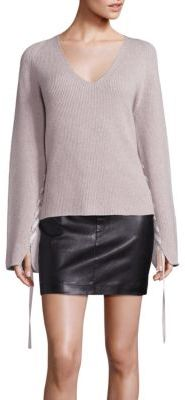 Helmut Lang Ribbon Sleeve-Detailed Wool Cashmere Sweater $395 thestylecure.com