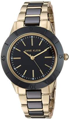 1d38db0fb Anne Klein Women's AK/3160BKGB Gold-Tone and Black Ceramic Bracelet Watch