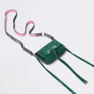 River Island Green mini leather knot cross body bag