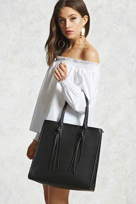 Forever 21 Faux Leather Tassel Tote Bag
