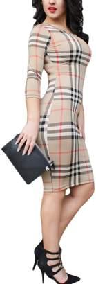 Yacun Women's 3/4 Sleeve Gingham Print Mini Pencil Work Office Dress M