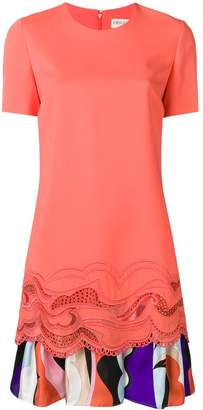 Emilio Pucci Embroidered Dress With Printed Ruffle Hem