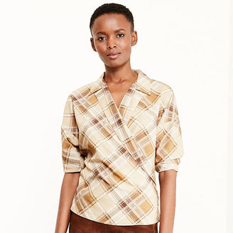 Ralph Lauren Plaid Crepe Wrap Shirt $99.50 thestylecure.com