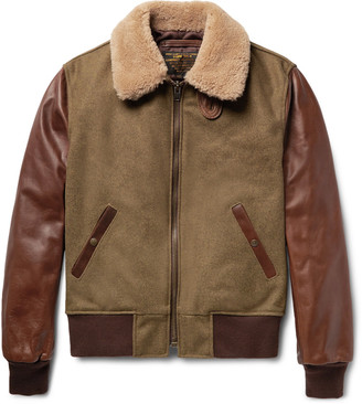Shearling-Trimmed Wool-Blend and Leather Jacket