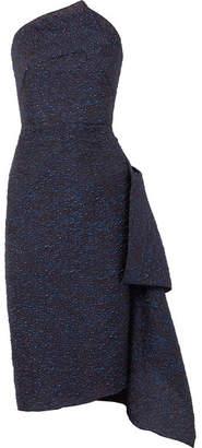 Roland Mouret Flynn Asymmetric Metallic Jacquard Midi Dress - Navy