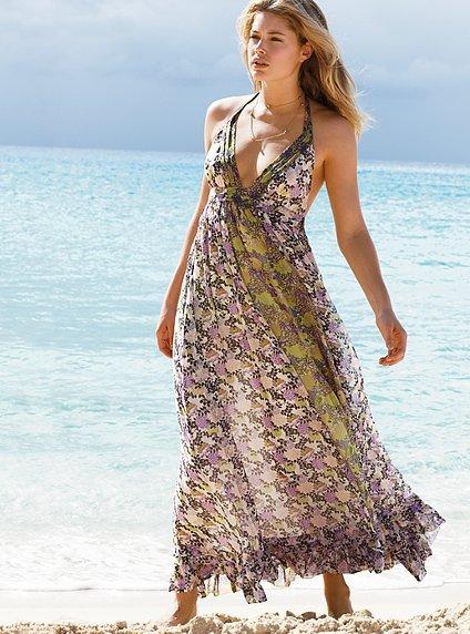Silk halter maxi dress