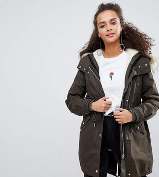 Bershka hooded parka coat in khaki