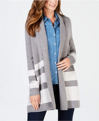 Charter Club Reversible Striped Open-Front Cardigan