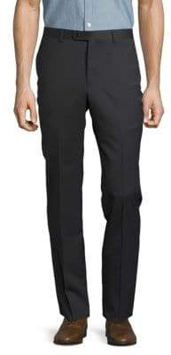 John Varvatos Solid Woolen Straight-Leg Pants