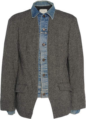 Greg Lauren Denim-Trimmed Herringbone Wool Blazer