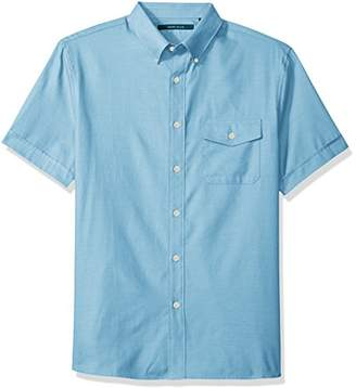 Perry Ellis Men's Solid Textured Oxford Single Pocket Shirt