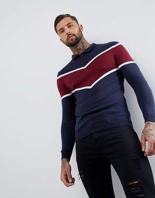 Asos Knitted Polo With Chevron Design