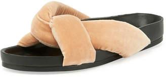 Chloé Crisscross Velvet Slide Sandals