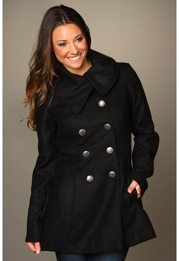 Jessica Simpson Envelope Collar Double Breasted Coat (Black) - Apparel