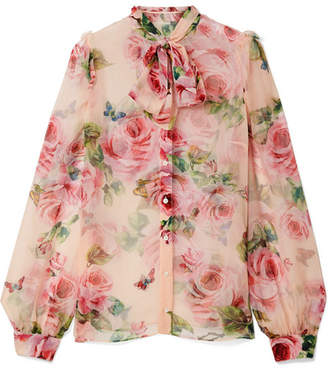 Dolce & Gabbana Pussy-bow Floral-print Silk-chiffon Blouse - Pastel pink
