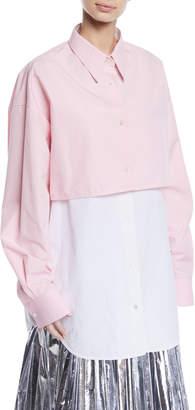 Calvin Klein Two-Tone Overlay Long-Sleeve Button-Down Shirt