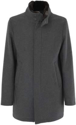 Herno Raincoat In Grey Wool.