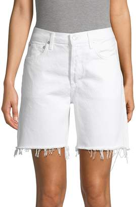 A Gold E Agolde Frayed-Hem Denim Shorts