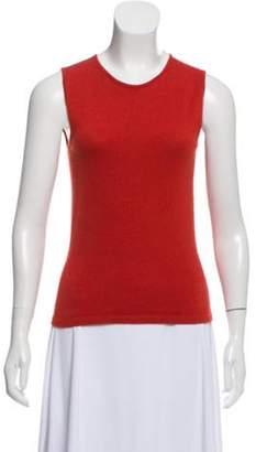 Oscar de la Renta Sleeveless Lightweight Cashmere Top Orange Sleeveless Lightweight Cashmere Top