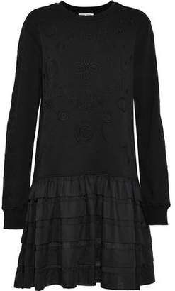 Opening Ceremony Tiered Voile-Paneled Embroidered French Cotton-Terry Mini Dress