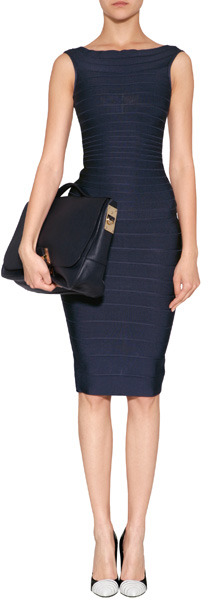 Herve Leger Cap Sleeve Dress in Pacific Blue