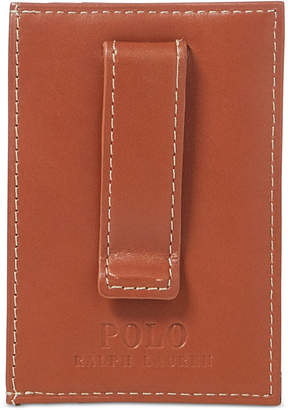Polo Ralph Lauren Men's Accessories, Burnished Leather Card Case with Money Clip