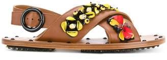 Marni floral embellished crossover sandals