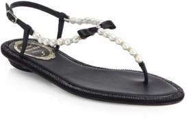 Rene Caovilla Crystal& Faux Pearl Leather Sandals
