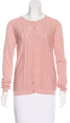 RED Valentino Pointelle Crew Neck Cardigan